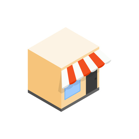 sidewalk cafe: Cafe icon in isometric 3d style on a white background