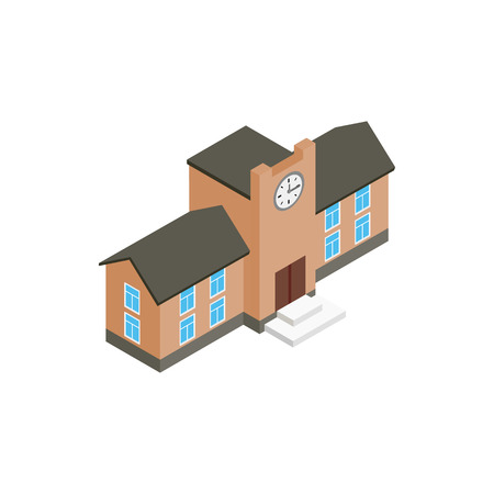 School building icon in isometric 3d style on a white background