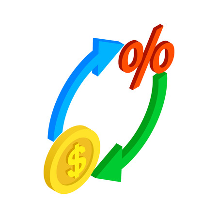 refresh rate: Circle arrows with dollar and percent symbol icon in isometric 3d style on a white background