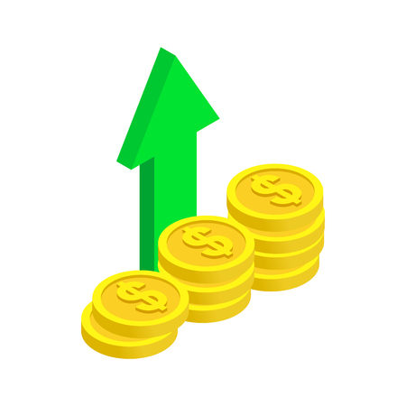 refresh rate: Stack of coin with green arrow icon in isometric 3d style on a white background Illustration