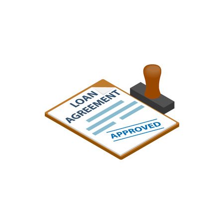 Leningsovereenkomst met lening goedgekeurd stempel icoon in isometrische 3D-stijl op een witte achtergrond