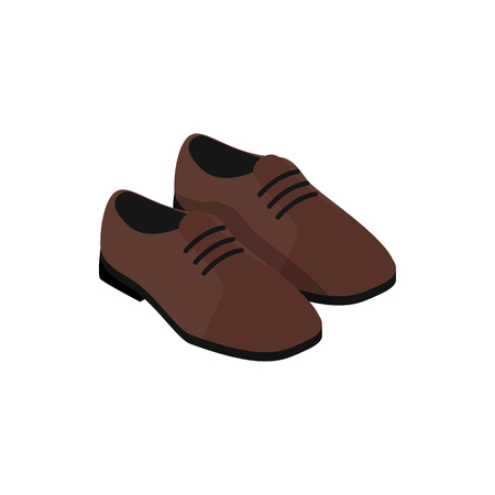 leather shoes: Pair of brown leather shoes icon in isometric 3d style on a white background