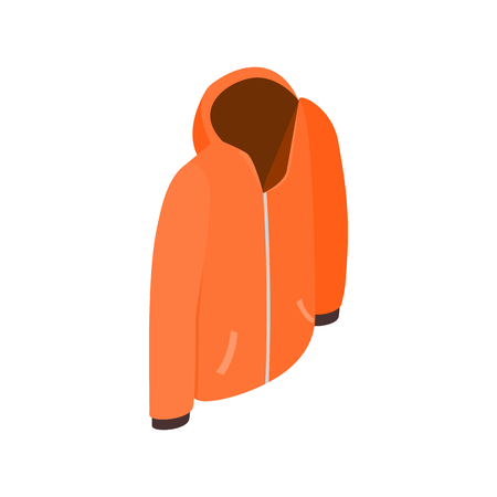 Orange hooded sweatshirt with zipper icon in isometric 3d style on a white background