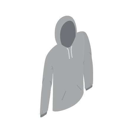 activewear: Grey hooded sweatshirt icon in isometric 3d style on a white background