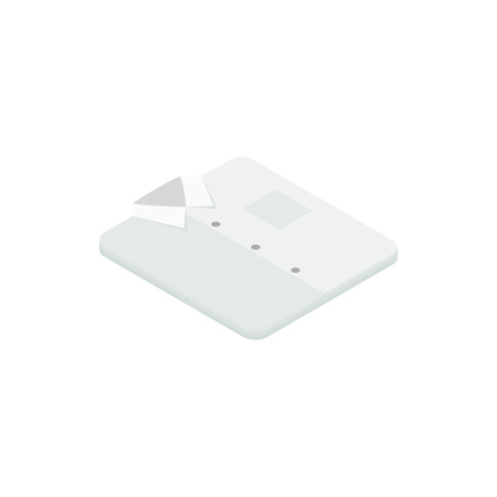 White folded shirt icon in isometric 3d style on a white background