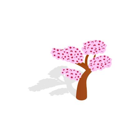 sakura tree: Sakura tree icon in isometric 3d style isolated with shadow on white background