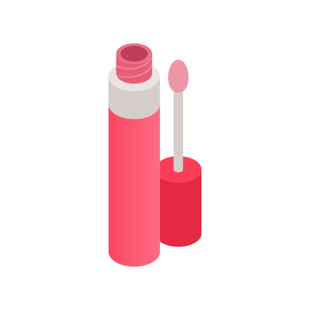 liquid: Opened pink liquid lipstick icon in isometric 3d style isolated on white background Illustration