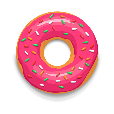 Pink glazed donut icon in cartoon style on a white background
