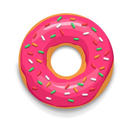 Roze geglazuurde donut icoon in cartoon-stijl op een witte achtergrond