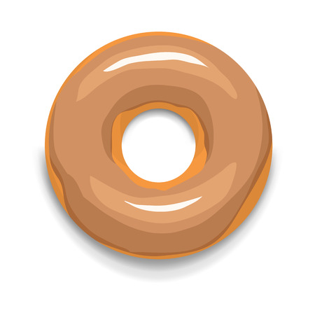 glazed: Glazed donut icon in cartoon style on a white background