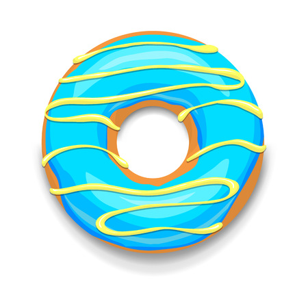 glazed: Blue glazed donut icon in cartoon style on a white background