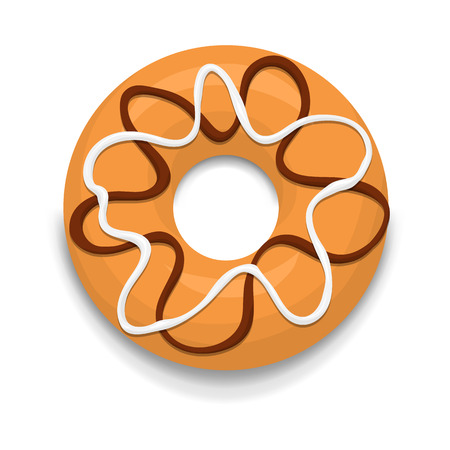 glaze: Donut with chocolate and white glaze icon in cartoon style on a white background