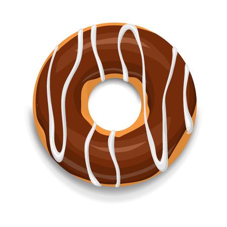 白い背景の上の漫画のスタイルでチョコレート ドーナツ アイコン
