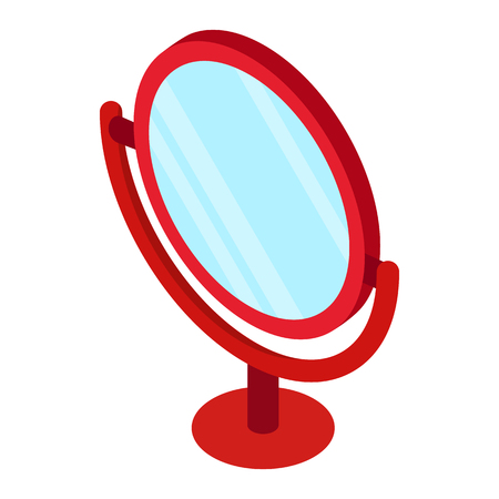penumbra: Red round table mirror icon in isometric 3d style isolated on white background