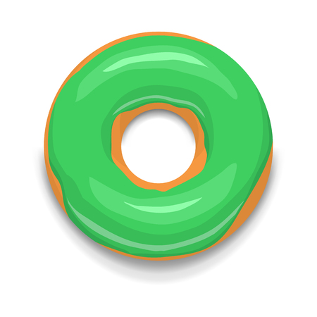 donut style: Green glazed donut icon in cartoon style on a white background Illustration