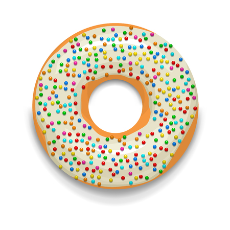 donut style: Glazed donut with candies icon in cartoon style on a white background