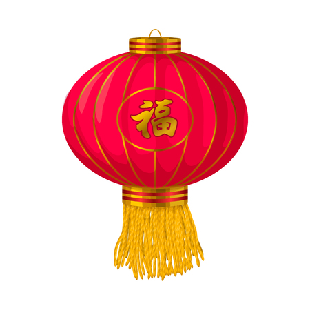 paper lantern: Red chinese paper lantern icon in cartoon style on a white background