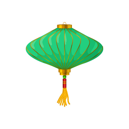 lantern: Green chinese paper lantern icon in cartoon style on a white background