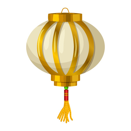 lantern: Chinese paper lantern icon in cartoon style on a white background