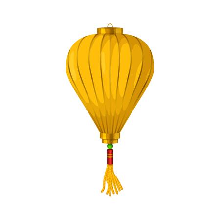 lantern: Yellow chinese paper lantern icon in cartoon style on a white background