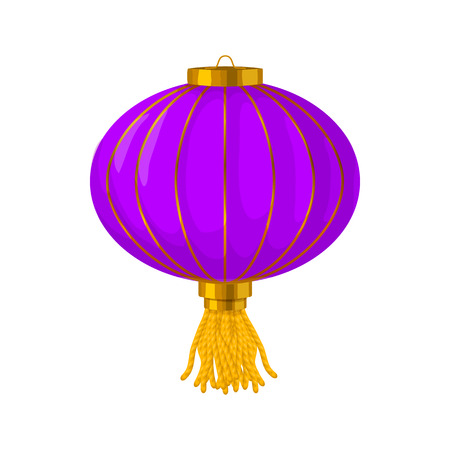 lantern: Purple chinese paper lantern icon in cartoon style on a white background