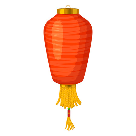 Red chinese paper lantern icon in cartoon style on a white background