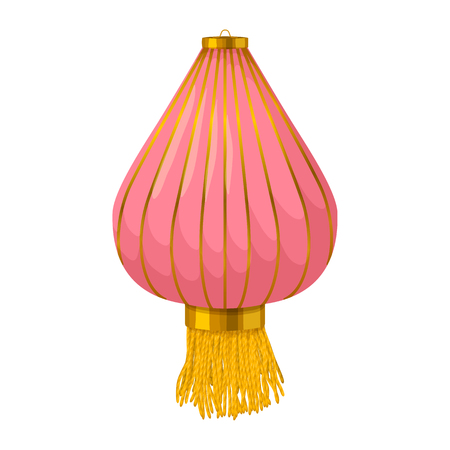 lantern: Pink chinese paper lantern icon in cartoon style on a white background Illustration