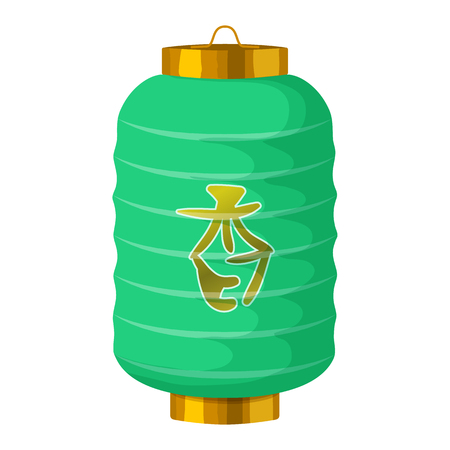 green lantern: Green chinese paper lantern icon in cartoon style on a white background
