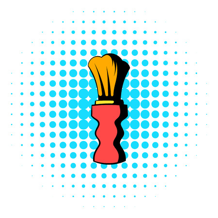 personal grooming: Wooden shaving brush icon in comics style on a white background