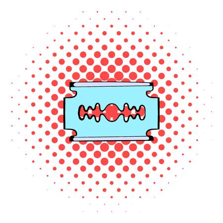 razor blade: Razor blade icon in comics style on a white background