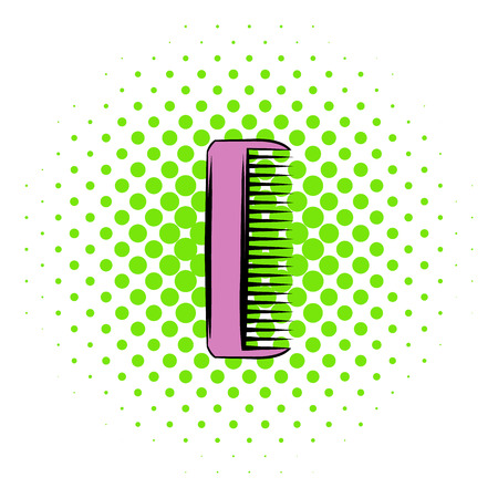 Pink plastic comb icon in comics style on a white background