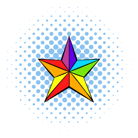 polyhedral: Rainbow star icon in comics style on a white background Illustration