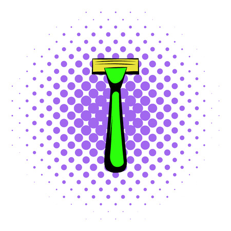 Shaving razor icon in comics style on a white background