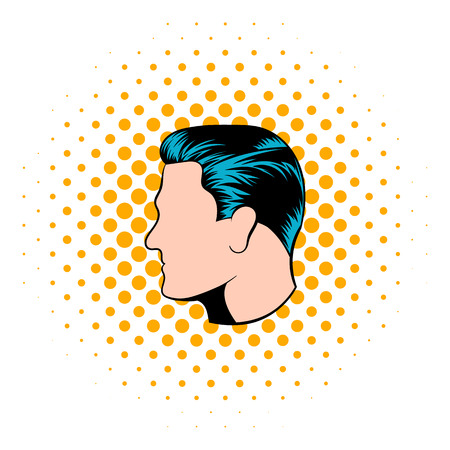 hairstyles: Mens hairstyle icon in comics style on a white background
