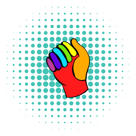 snug: Glove in rainbow colors icon in comics style on a white background Illustration