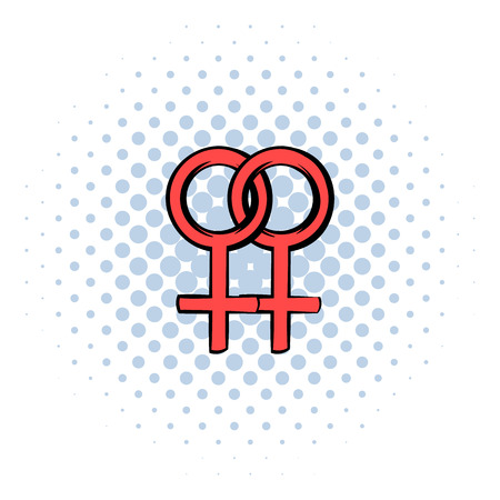 sex chromosomes: Two female gender symbols icon in comics style on a white background