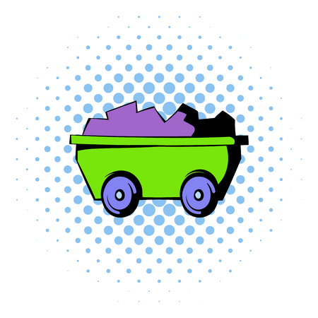 ore: Trolley with ore icon in comics style isolated on halftone background Illustration