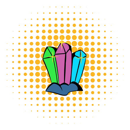 priceless: Three crystals icon in comics style isolated on halftone background Illustration