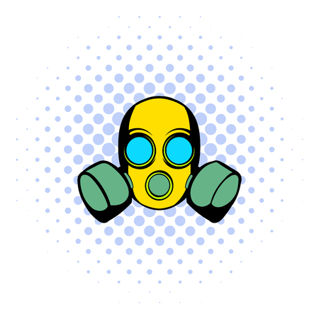respirator: Respirator icon in comics style isolated on halftone background
