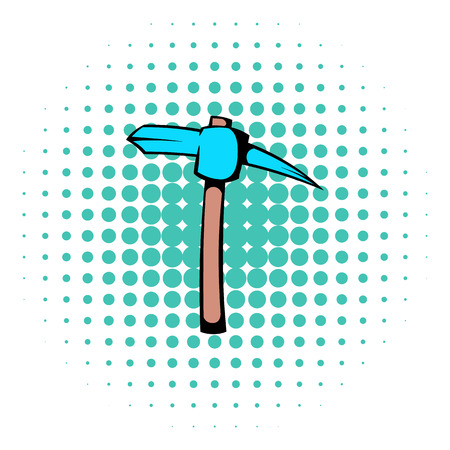 goldmine: Pickaxe icon in comics style isolated on halftone background