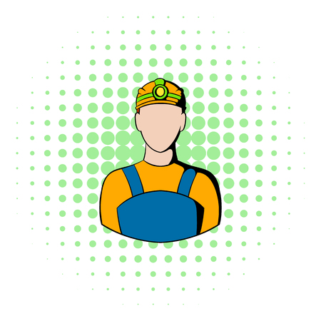 coal mine: Coal miner icon in comics style isolated on halftone background