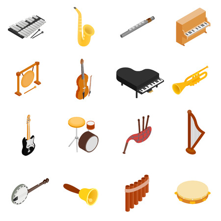 musical instrument: Musical Instruments set icons in isometric 3d style on a white background Illustration
