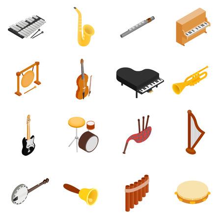 Musikinstrumente-Icons in einer isometrischen 3D-Stil auf einem weißen Hintergrund