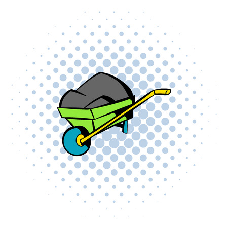 ore: Unicycle trolley with ore icon in comics style isolated on halftone background