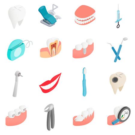 set dentaire icônes dans le style 3d isométrique sur un fond blanc