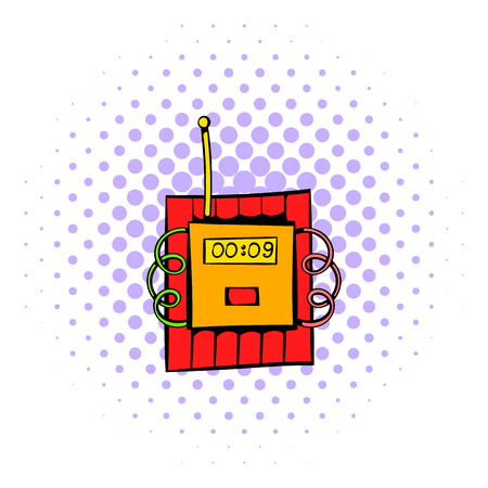 ignited: Dynamite icon in comics style isolated on halftone background