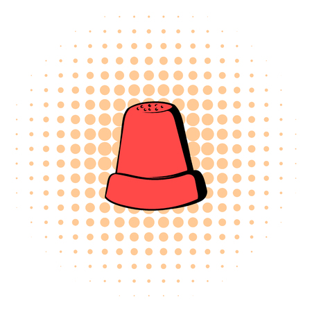 thimble: Thimble icon in comics style isolated on white background Illustration