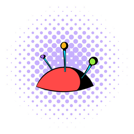 darn: Pincushion with pins icon in comics style isolated on white background Illustration
