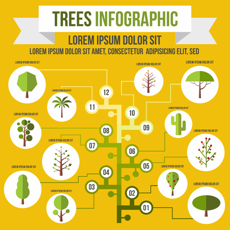 greenhouse and ecology: Tree infographic in flat style for any design Illustration
