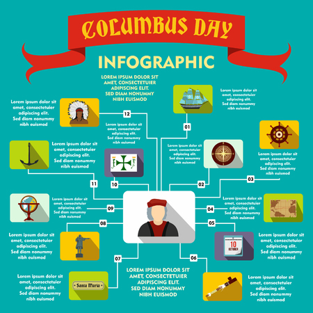 christopher columbus: Columbus Day infographic in flat style for any design